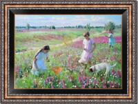 "Hand-painted Original Oil Painting art Impressionism girl on canvas 24""x36"""