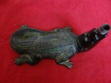 Very Fine Antique Cast Iron Original Paint Alligator Figural Lawn Sprinkler