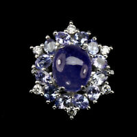 Unheated Oval Tanzanite 11x9mm Natural Cz 925 Sterling Silver Ring Size 8
