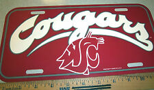 University of Washington State Cougars plastic License Plate made in the USA