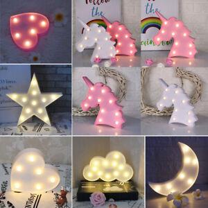 3D Star Moon Unicorn LED Night Light Wall Lamp Kids Baby Bedroom Table Desk Lamp