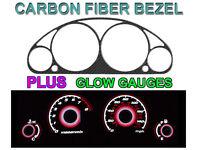 01-02 HONDA CIVIC AUTO W/ TACH CARBON FIBER BEZEL + RED GLOW GAUGE FACE OVERLAY