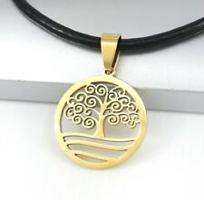 Gold Round Spiral Tree Of Life Stainless Steel Pendant Black Leather Necklace