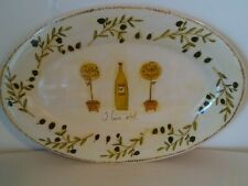 """PRECIDIO Beige Green Olive Oil Large Oval Serving Platter Tray Size 18""""X12"""""""