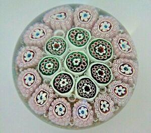 FRATELLI TOSO Murano Art Glass Paperweight Millefiori & Goldstone Aventurine