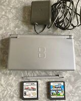 Nintendo DS Lite Silver Launch Edition w/ Mario Kart & New Super Bros + Charger