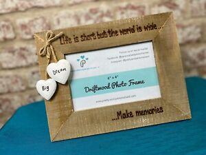 Holiday Adventure Personalised Driftwood Photo Frame   Life Is Short But..  