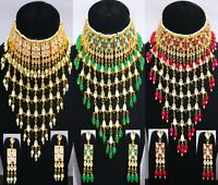 Indian Kundan Necklace Gold Plated Pearls Choker Fashion Wedding Jewellery Gift