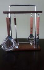Vintage Bartending Wooden Handled Bar Set/Tools with Hanging Rack