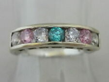 Stunning Blue, Pink & Clear Gemstone & 9k Gold Ring Size M By OPT
