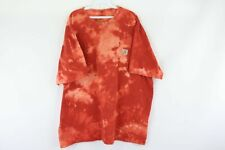Vtg Carhartt Mens 2XL XXL Spell Out Distressed Acid Wash Pocket T Shirt Orange