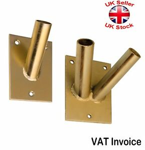 Flagpole Flag Pole Holder Wall Bracket Yellow Zinc Plated for 1 or 2 Flags