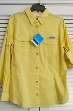 "LADIES COLUMBIA ""BONEHEAD"" L/S FISHING SHIRT YELLOW (XL)   (20)"