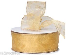 Morex Gold Organza Glitter Snowflakes Ribbon Christmas Winter Holiday Gift Bows