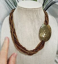 Hammered Brass Oval Asymmetrical Choker State Vintage Multi Strand Seed Bead and