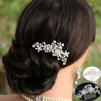 Wedding Flower Pearls Hair Comb Clip Bridal  Jewellery Silver Rhinestone Crystal
