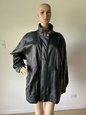 Liz Baker Black Genuine Leather Coat Jacket Quilted Lining Stand Collar Size XL