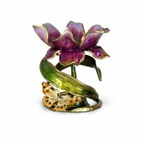 """Jay Strongwater Aimee Floral 7"""" Pillar Candle Holder 14K gold SDH2370-456"""