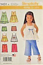 Simplicity Pattern #1451 Toddler Girls Dress Top Cropped Pants And Shorts