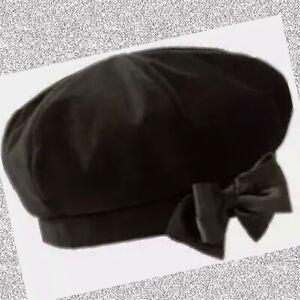 "NWT 6-12 mos Gymboree ""BLUSHING SWAN"" BLACK Cotton VELVET fully Lined BOW BERET"
