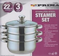 Prima 3 Piece Stainless Steel 3 Tier Steamer Saucepan Set 22cm Glass Lid