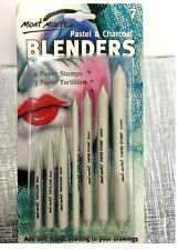 7pc Mont Marte Pastel&charcoal Blenders White Pencils Paper Tortillion/stump