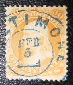 US Stamps: Scott #71, 1861 nicely canceled Franklin 30c VF sound