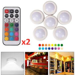 Neu 6x RGB LED Unterbauleuchte Küche Vitrinenbeleuchtung LED Schrankleuchten DHL