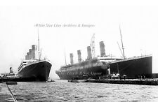 """Poster Print: 24"""" x 36"""": RMS Titanic & Olympic Swapping Docks, Belfast, 1912"""