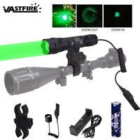 Zoom Focus Green/Red Predator Hunting Light Flashlight Hog Varmint Torch Mount