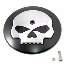 Chrome & Black Skull Air Filter Cleaner Cover Insert fits Harley Davidson Intake