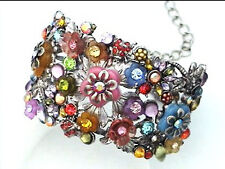 C RED PINK BLUE MULTI FLORAL CRYSTAL ACRYLIC SILVER ADJUSTABLE CUFF BRACELET NEW
