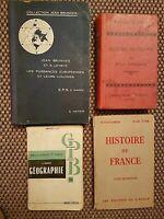 Lot de 4 manuels scolaires anciens - GEOGRAPHIE - HISTOIRE