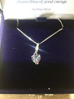 Sterling (925) Silver Heart Shaped Mystic Quartz Pendant & Chain - Boxed
