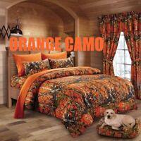 12 pc set Orange Woods Camo Queen size comforter sheets pillowcases curtains