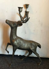 Old Vtg Brass Christmas Deer Candle Holder Holiday Christmas Winter Centerpiece