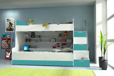 Doppelstockbett Etagenbett Bett Kinderbett Jugendbett Hochbett B03  Türkis/Weiß