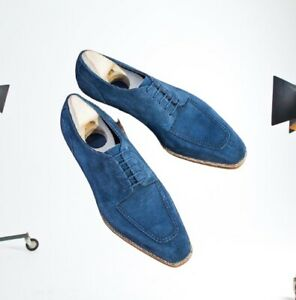 New Handmade Pure Dark Blue Suede Leather Stylish Loafer Shoes for Men/'s