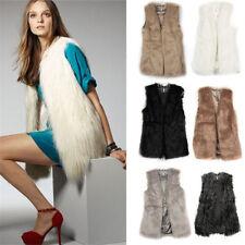 Womens Ladies Faux Fur Gilet Vest Waistcoat Sleeveless Jacket Long Shrug Coat