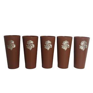Vintage Mushroom Plastic Tumblers Set of 5 Stackable Fungi Retro Brown Gold Cups