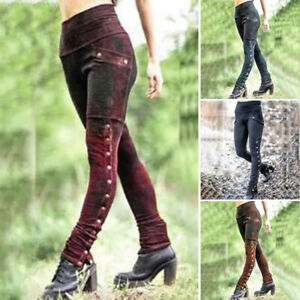 Medieval Steampunk Women Gothic Leggings Trouser Skinny Pants Cosplay Costume