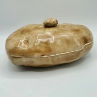 "Vintage Large Ceramic Covered Casserole Dish Baked Potato 12"" NICE"