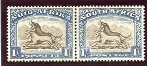 South Africa 1939 KGVI 1s brown & chalky blue bilingual pair MLH. SG 62 Sc 62.