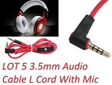 LOT 5 3.5mm Audio Cable L Cord With Mic For Monster Beats By Dr Dre SOLO Aux