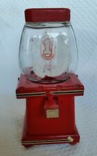 VINTAGE THE CANDY MAN GUMBALL WOOD BASE GLASS DOME.  LEONARD CREATIONS