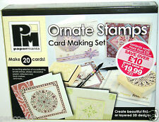 Papermania Ornate rubber stamp set. Stamps cards envelopes papers markers gems