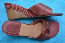 COLORADO MEDIUM Brown Leather SANDALS Size 8 NEW rrp$99.99 Ring Trim Wedge Heel.