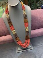"Vintage Bohemian 32"" Woven Multi Strand  seed bead Earth Tone Bib necklace"