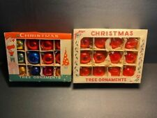 "24 Vtg Fantasia Christmas Tree Ornaments 2"" Balls Bulbs Original Box Poland"
