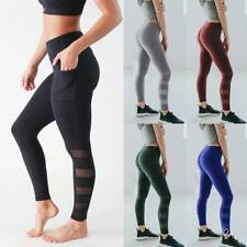 Womens Sports Compression Fitness Leggings With Pockets Yoga Pants Gym Trousers